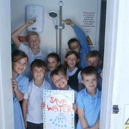 Eco & School Councillors with 'Save Water' message